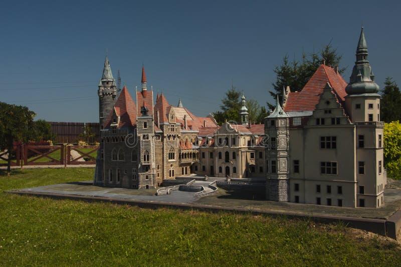 Moszna Castle - miniature. stock images