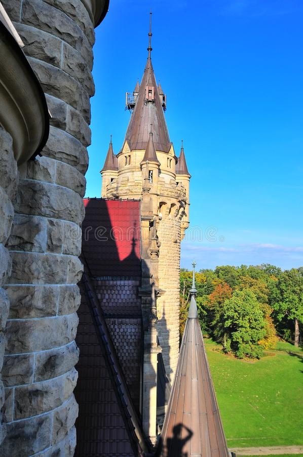 Moszna Castle, Silesia, Poland, October 2017. Boar tower with skeleton in the window. royalty free stock image