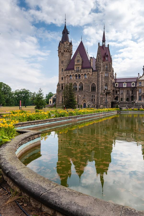 The Moszna Castle in southwestern Poland, one of the most magnificent castles in the world from royalty free stock photo