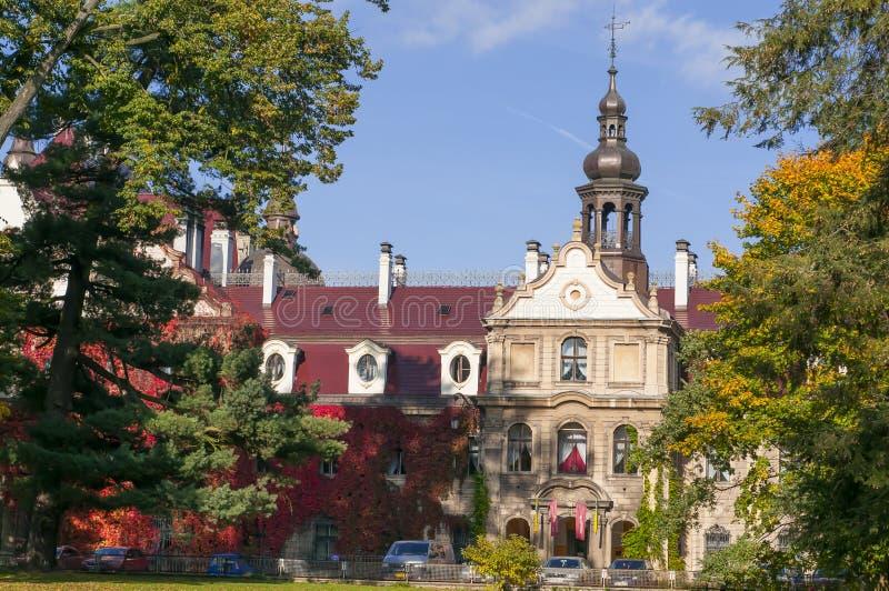 Moszna, Poland, October 2017. Façade of Moszna Castle stock image