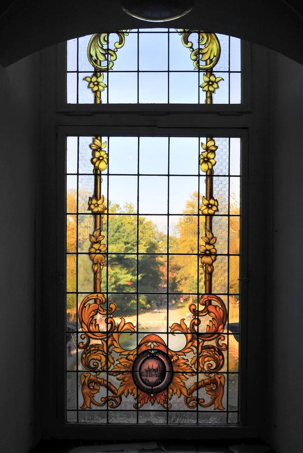 Moszna, Poland, October 2017. Stained glass window in Moszna Cstle royalty free stock photos
