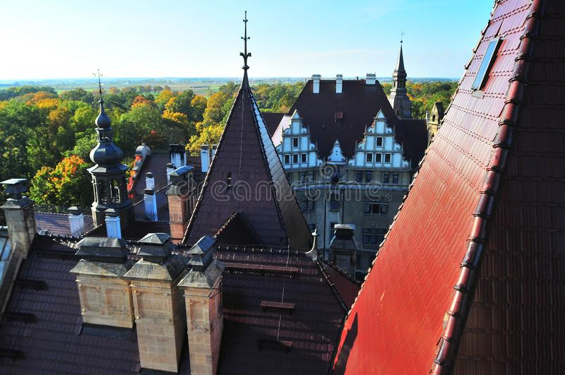 Moszna, Silesia, Poland, October 2017. rooftops of Moszna Castle stock images