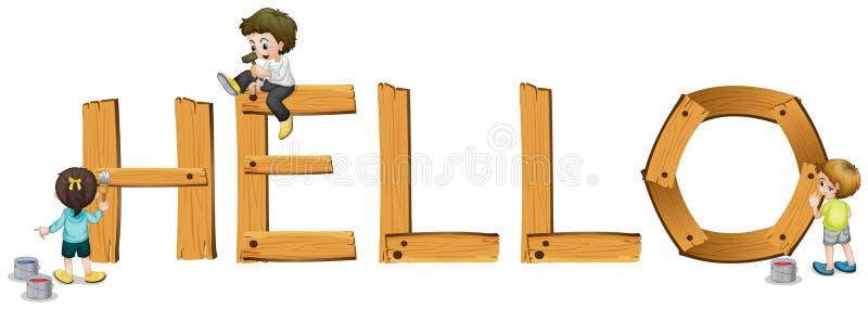 Mot anglais bonjour illustration stock