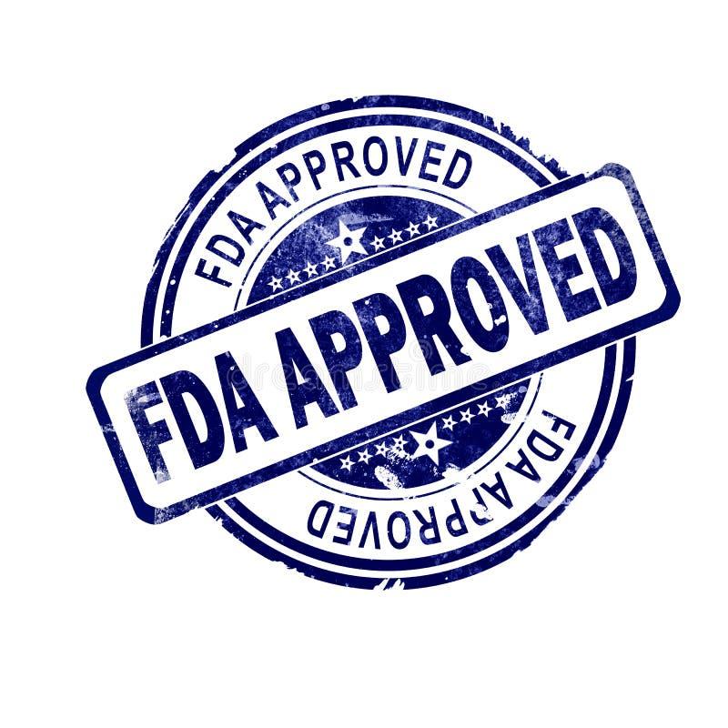 Mot approuvé par le FDA avec le timbre rond bleu illustration de vecteur