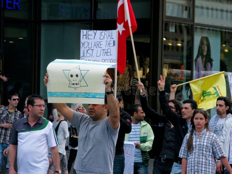 mot attackdemonstrationen israel s royaltyfria bilder