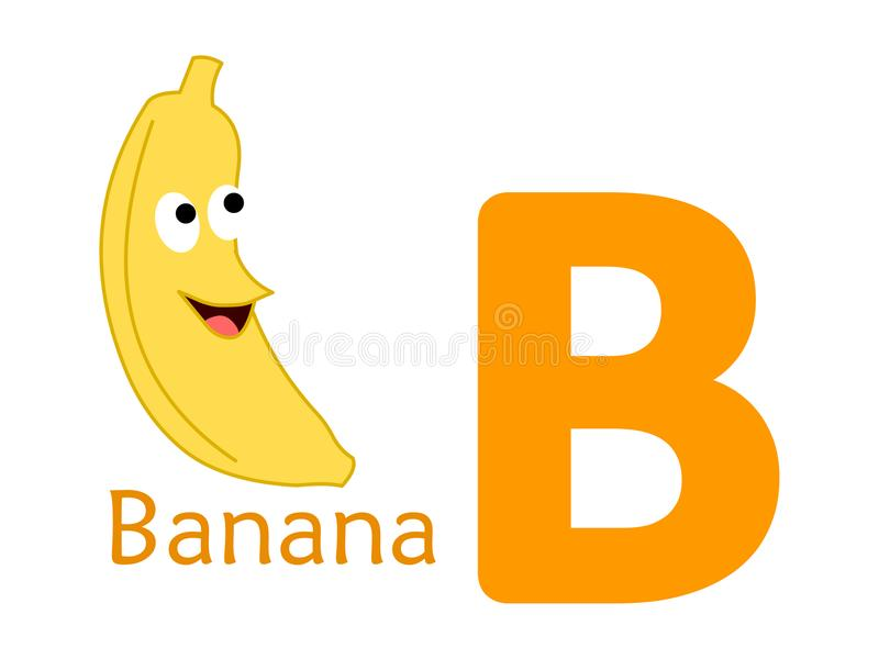 Mot B d'alphabet B pour la banane illustration de vecteur