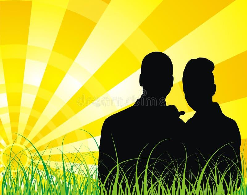 mot bakgrund rays paret den soliga silhouetten royaltyfri illustrationer