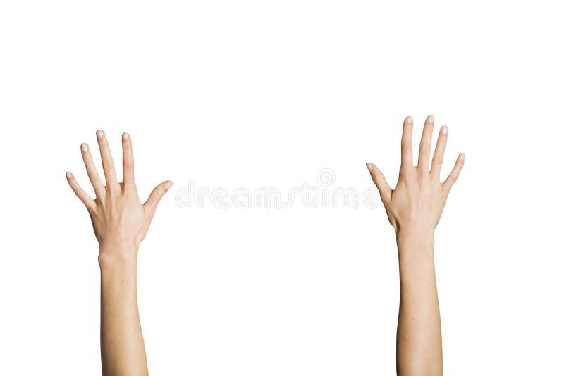 mot bakgrund rymde händer upp white arkivbild