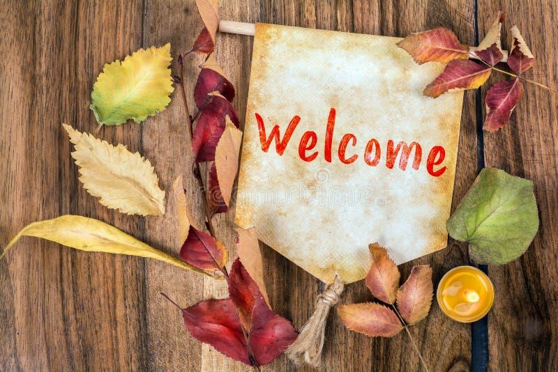 Mot bienvenu avec le thème d'automne photo stock
