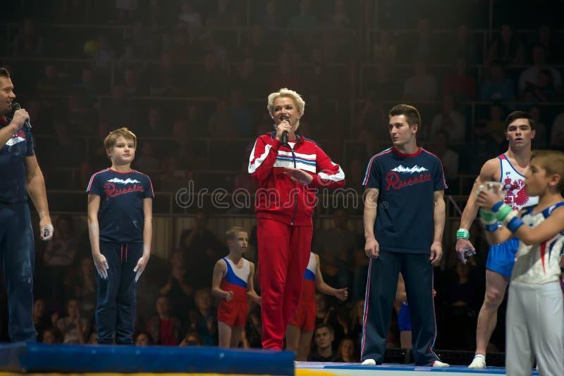 Mot bienvenu Gymnaste légendaire Svetlana Khorkina image libre de droits