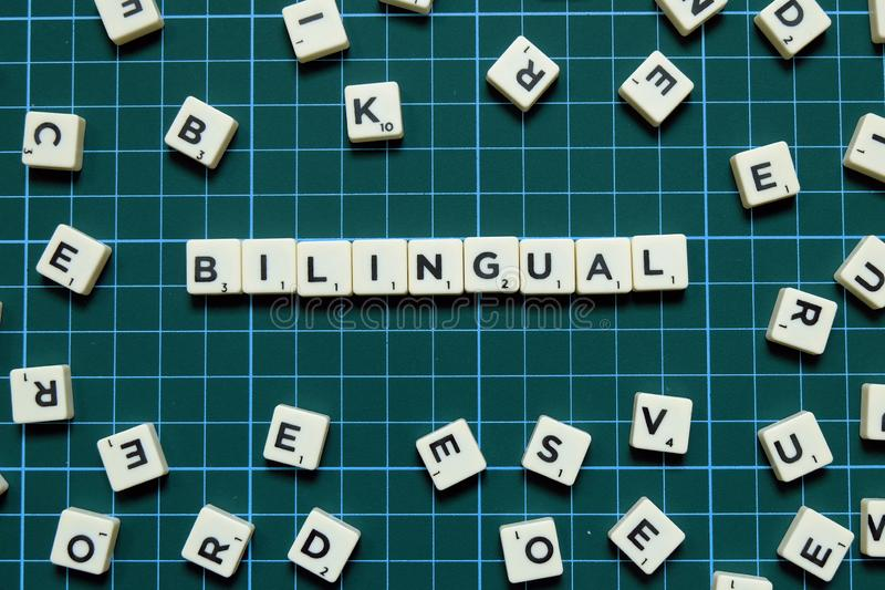 Mot bilingue sur le fond carré vert de tapis images stock