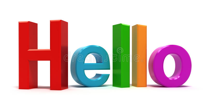 Mot bonjour multicolore illustration de vecteur