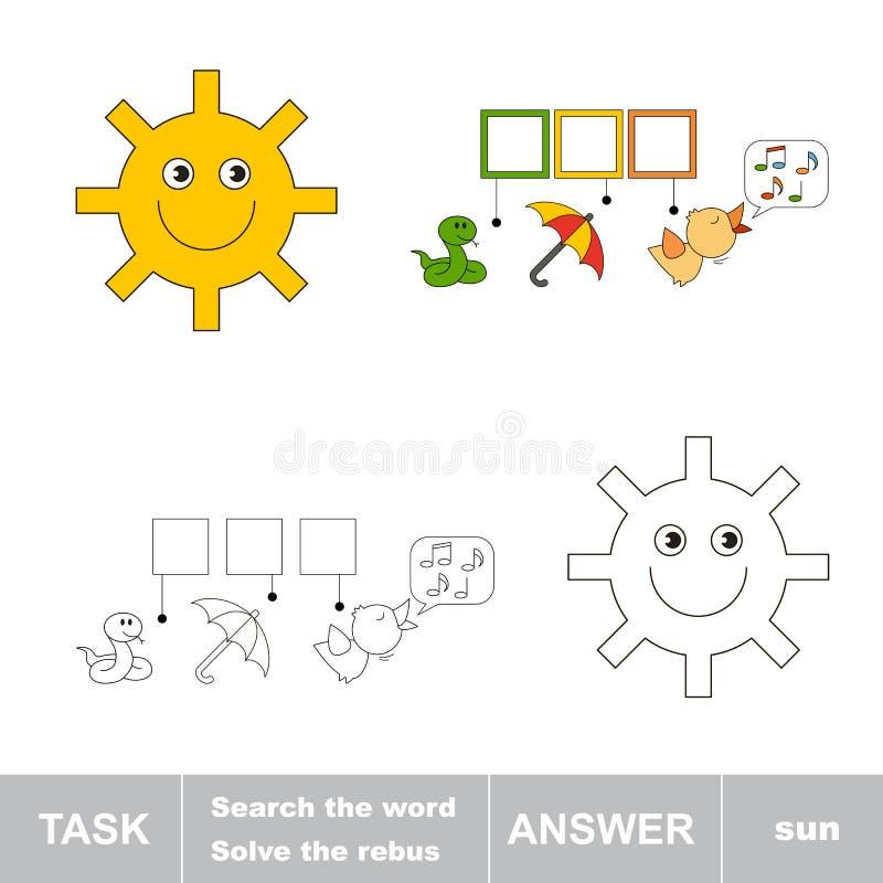 Mot caché par découverte le SOLEIL illustration de vecteur