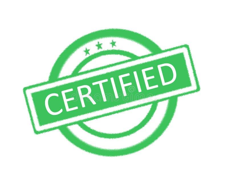 Mot certifié écrit sur le tampon en caoutchouc vert illustration stock