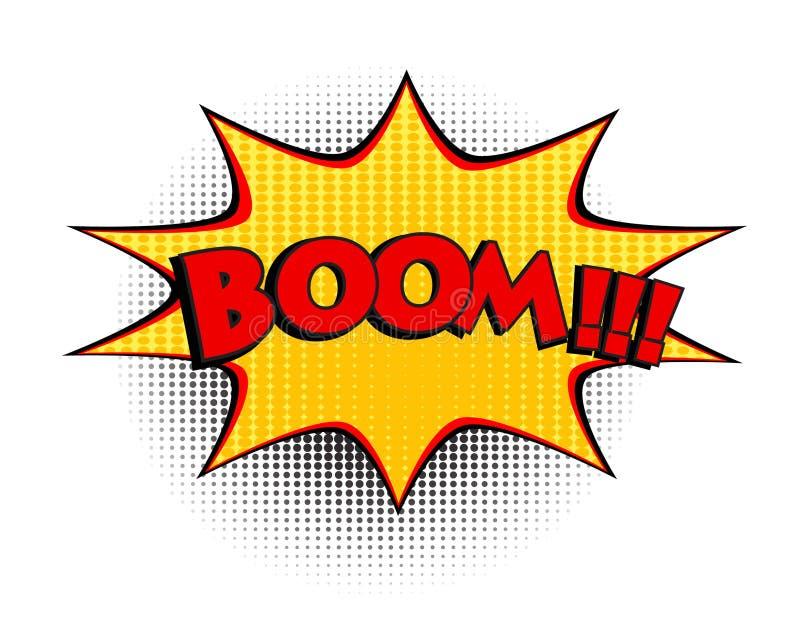 Mot comique de boom Illustration de vecteur de style d'art de bruit rétro, ENV 10 illustration libre de droits