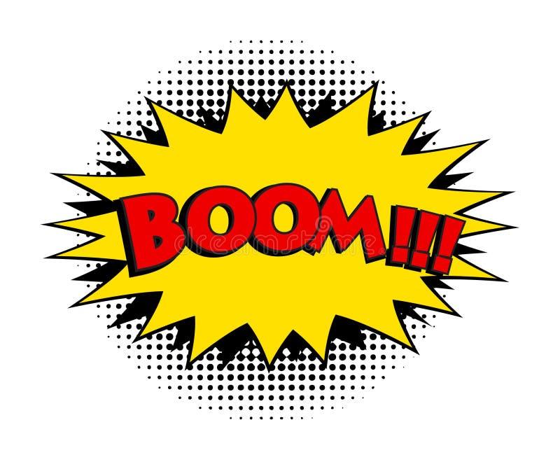 Mot comique de boom Illustration de vecteur de style d'art de bruit rétro, ENV 10 illustration stock