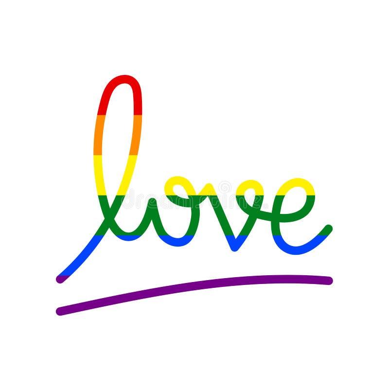 Mot d'amour d'arc-en-ciel de drapeau de LGBT illustration de vecteur