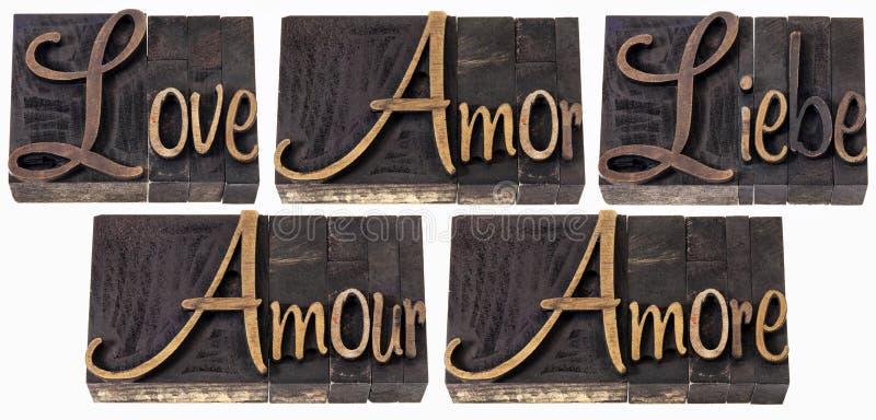 Mot d'amour dans 5 langages images libres de droits
