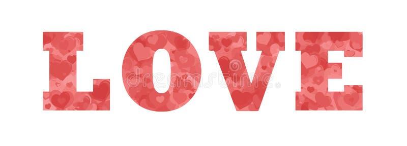 Mot d'amour rempli de coeurs photo libre de droits