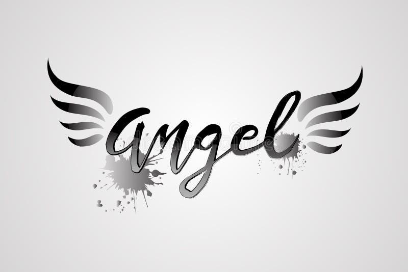 Mot d'ange et vecteur de logo d'ailes illustration libre de droits