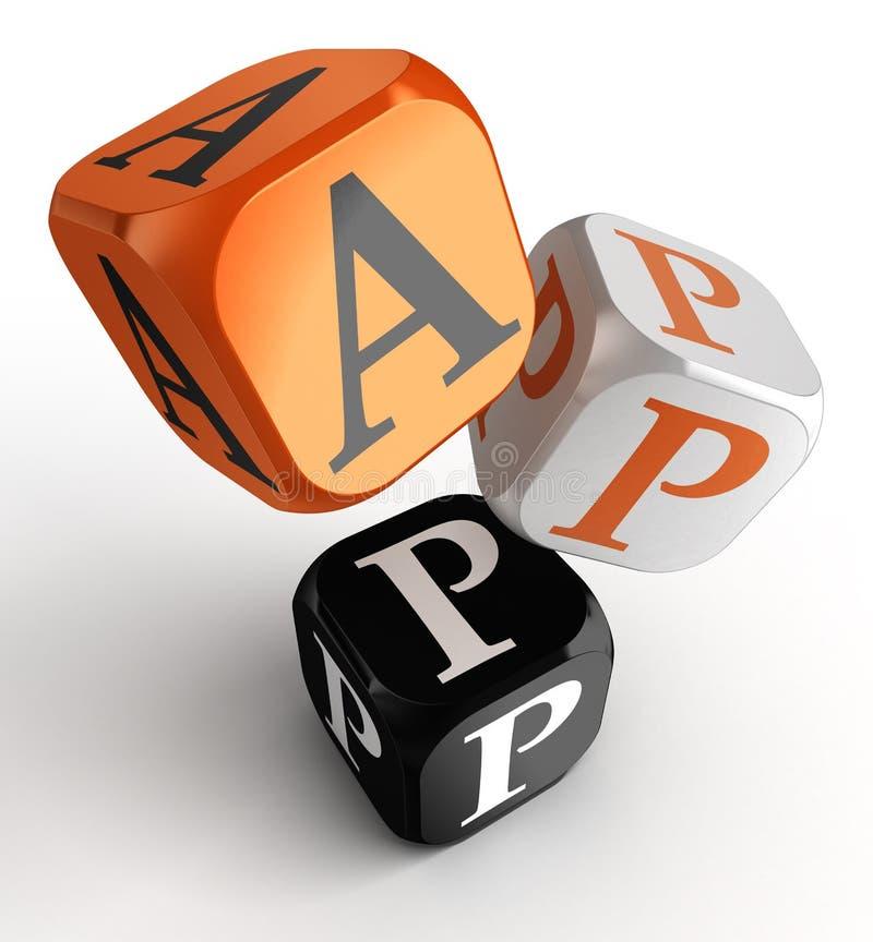 Mot d'APP sur les blocs oranges et noirs et blancs de jouet de matrices illustration de vecteur