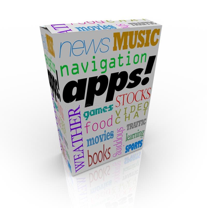 Mot d'Apps sur la boîte à céréale et beaucoup de types de logiciel illustration de vecteur