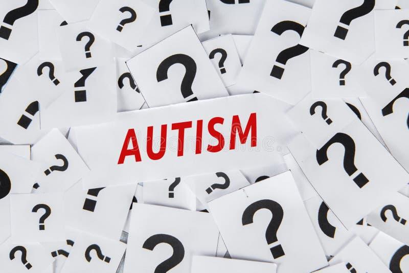 Mot d'autisme avec des points d'interrogation illustration stock