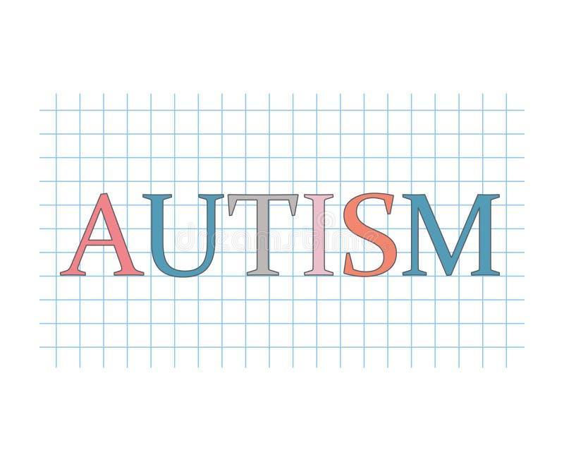 Mot d'autisme sur la feuille de papier à carreaux illustration de vecteur