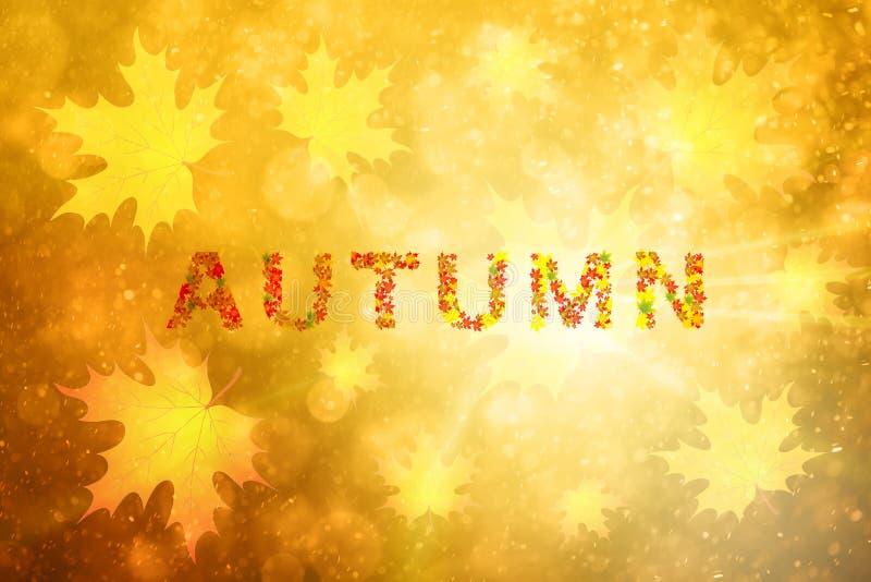 Mot d'automne avec des feuilles d'érable illustration stock
