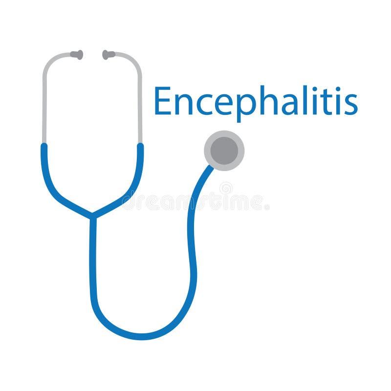 Mot d'encéphalite et icône de stéthoscope illustration libre de droits