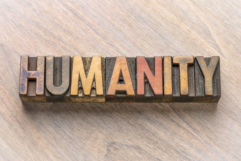 Mot d'humanité dans le type en bois photos stock