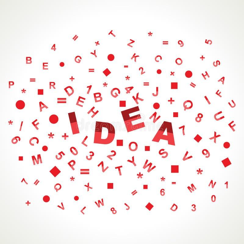 Mot d'idée avec dans des alphabets illustration de vecteur