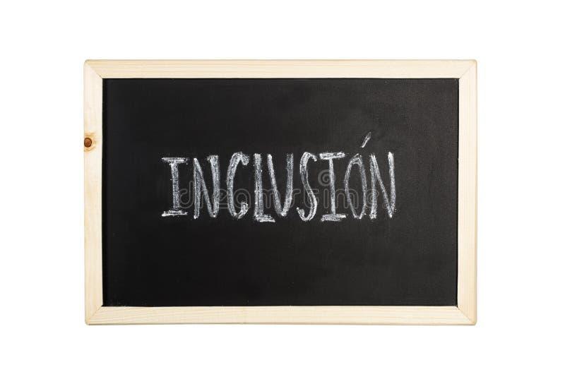 Mot d'inclusion écrire dans la craie sur un tableau noir photos stock