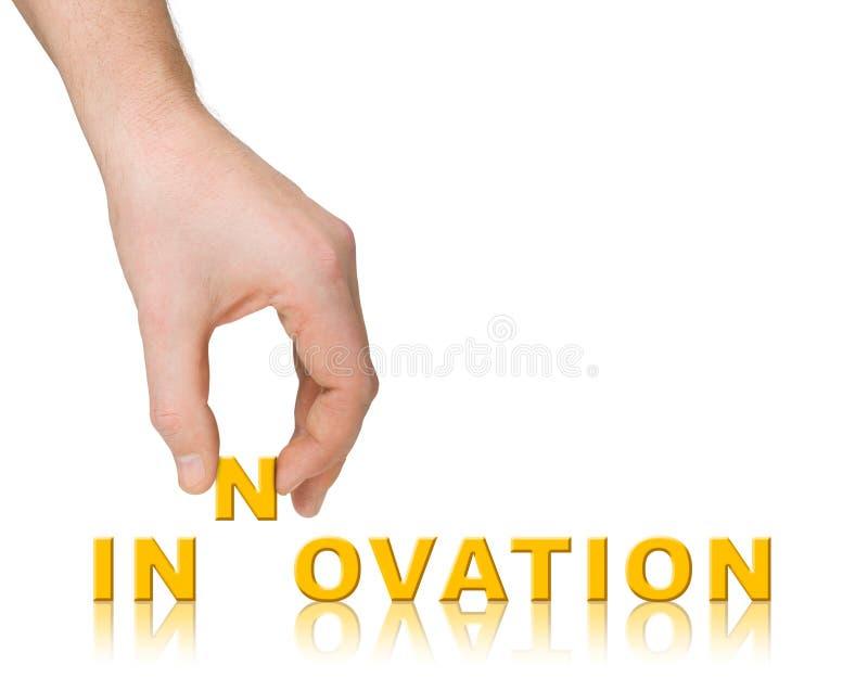 mot d'innovation de main image libre de droits