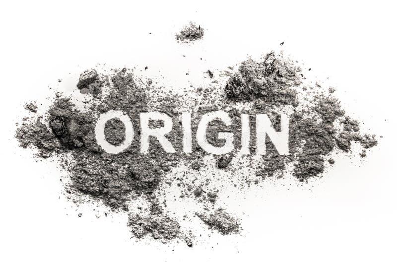 Mot d'origine écrit en cendre, la poussière, saleté comme concept de début images libres de droits