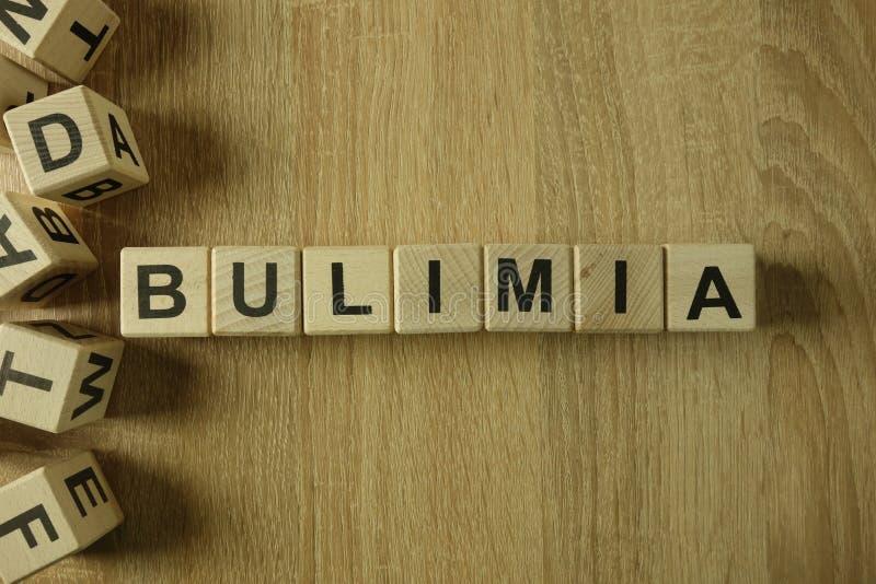 Mot de boulimie des blocs en bois photo libre de droits