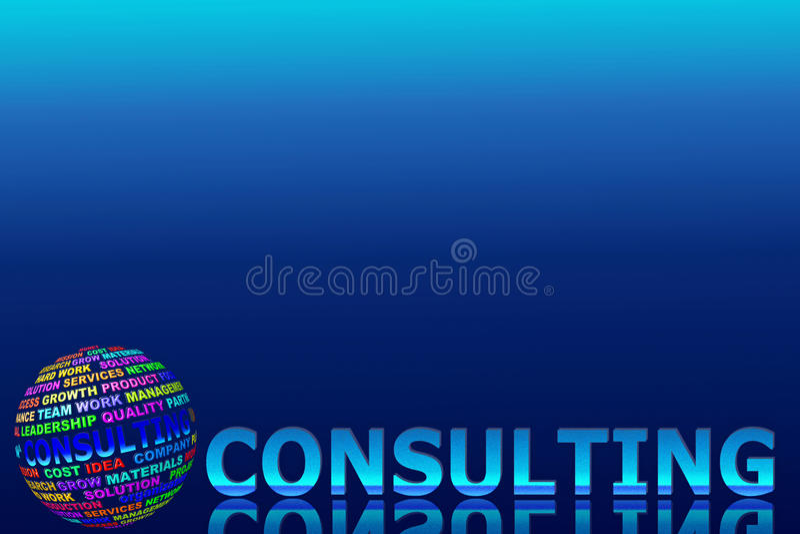 Mot de consultation rougeoyant avec le globe illustration stock
