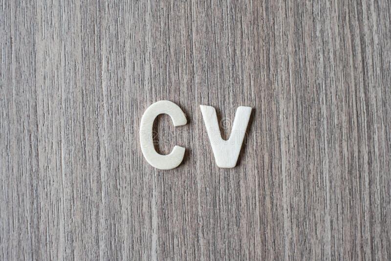 Mot de cv des lettres en bois d'alphabet Affaires, travail et idée photo stock