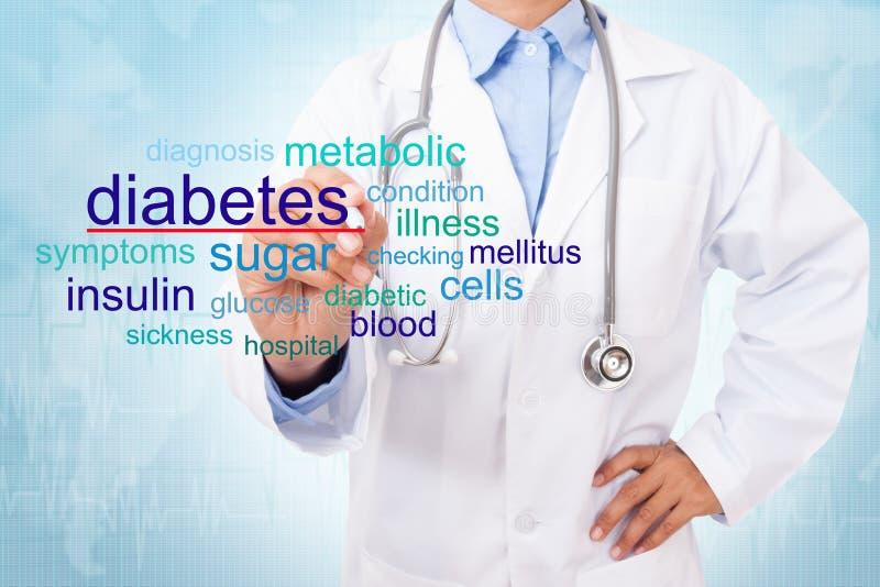 Mot de diabète d'écriture de docteur images stock