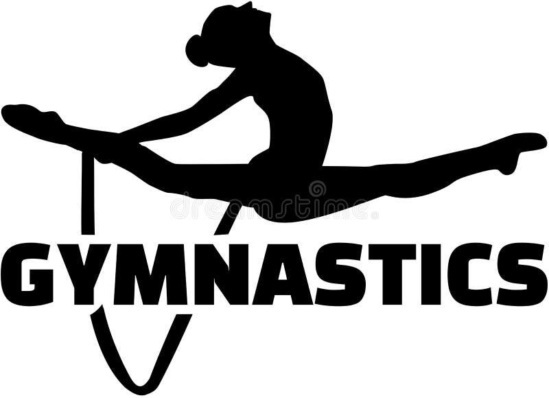Mot de gymnastique avec l'exercice de femme avec la corde illustration stock