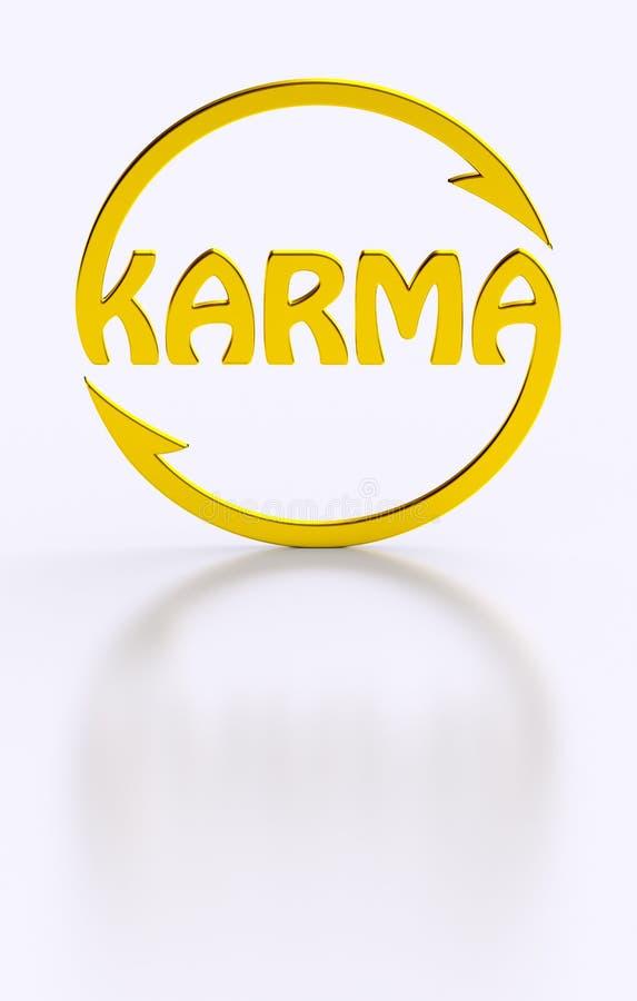 Mot de karma faisant un cycle le symbole d'or illustration libre de droits