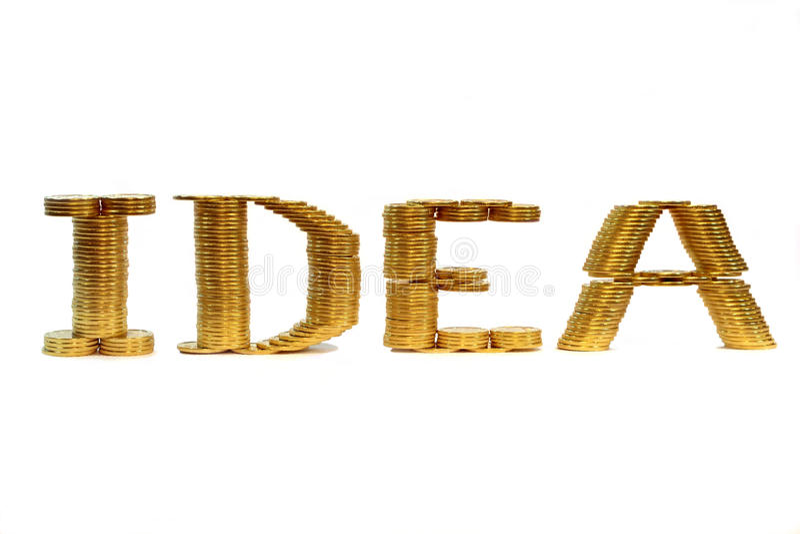 Mot de l'idée d'une pièce de monnaie pliée photographie stock libre de droits