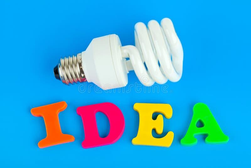 mot de lampe d'idée photos stock