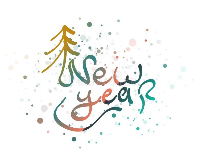 Mot de lettrage de nouvelle année illustration de vecteur