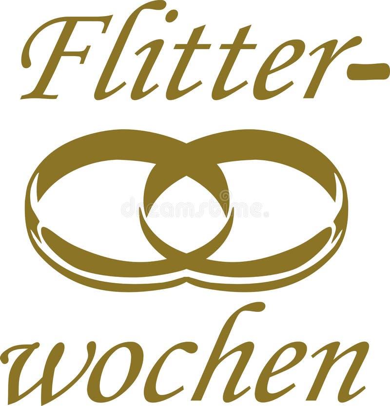 Mot de lune de miel avec des anneaux de mariage - Allemand illustration de vecteur