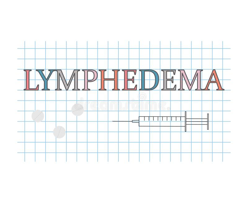 Mot de Lymphedema sur la feuille de papier à carreaux illustration libre de droits