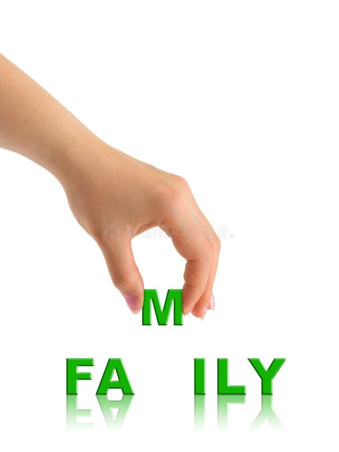 mot de main de famille photos libres de droits
