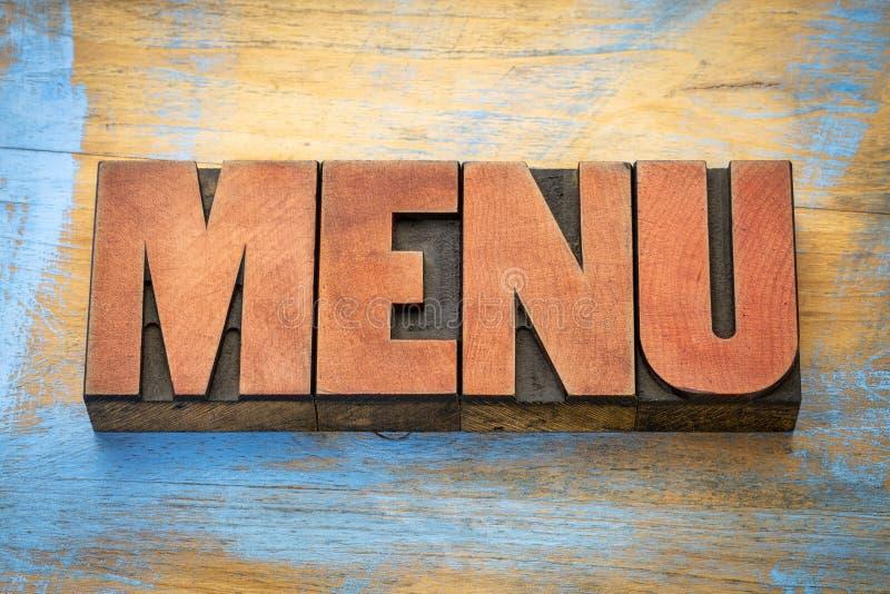 Mot de menu dans le type en bois d'impression typographique images stock