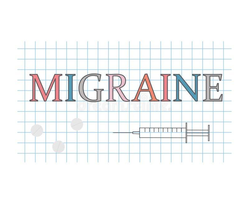 Mot de migraine sur la feuille de papier à carreaux illustration de vecteur