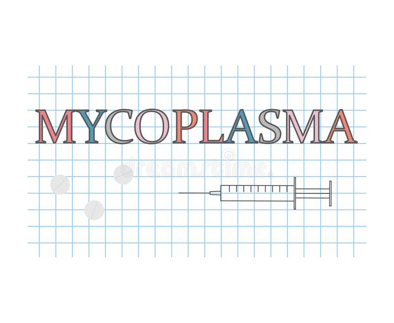 Mot de mycoplasma sur la feuille de papier à carreaux illustration libre de droits